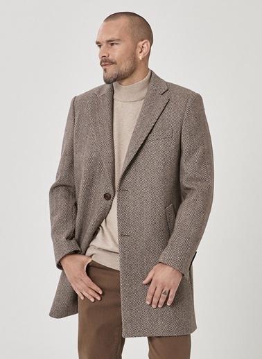 Beymen Business Business 4B0521100004 Standart Fit Desenli Erkek Palto Kahve